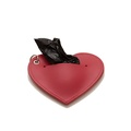 Leather Heart Poo Bag Pouch - Red 2