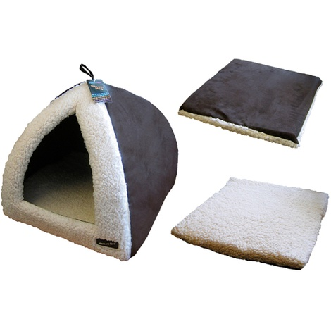 Chocolate & Cream Pyramid Cat Bed