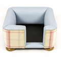 The Tetford Square Blue Leather & Sorbet Tweed Dog Bed 3