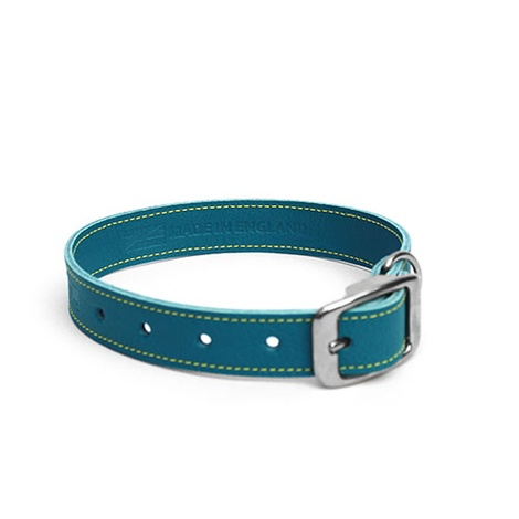 Blue Leather Dog Collar 2