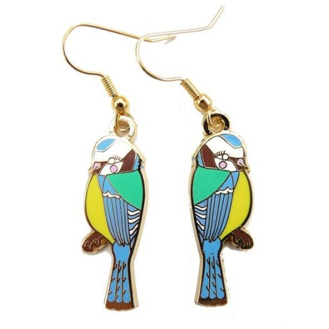 Blue Tit Enamel Earrings