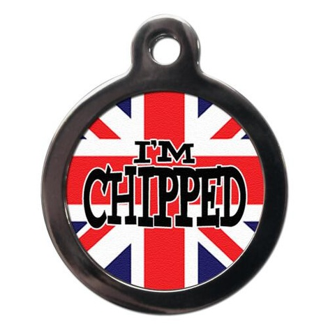 I'm Chipped Union Flag Pet ID Tag