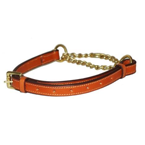 Adjustable Half Choke Chain Leather Dog Collar - Londo 2