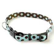 Yellow Dog - Blue/Brown Polka Collar