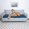 Plush Velvet Sofa Topper - Teal