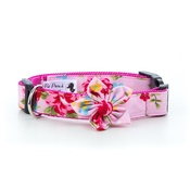 Pet Pooch Boutique - Pink Vintage Collar with Flower Accessory