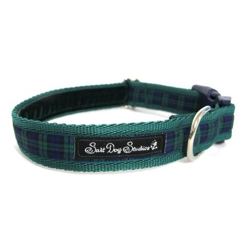 Green Tartan Dog Collar