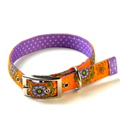 Yellow Dog - Folk Flowers on Purple Polka Collar Uptown Range