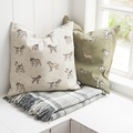 Dogs Linen Cushion - Green 2