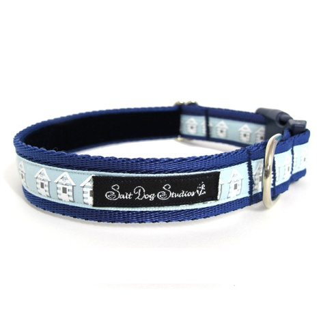 Blue Beach Huts Dog Collar