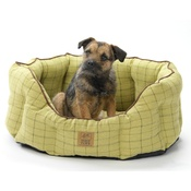 House of Paws - Tweed Oval Snuggle Dog Bed – Green