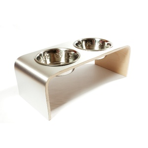 Aluminium & Birch Raised Pet Feeder