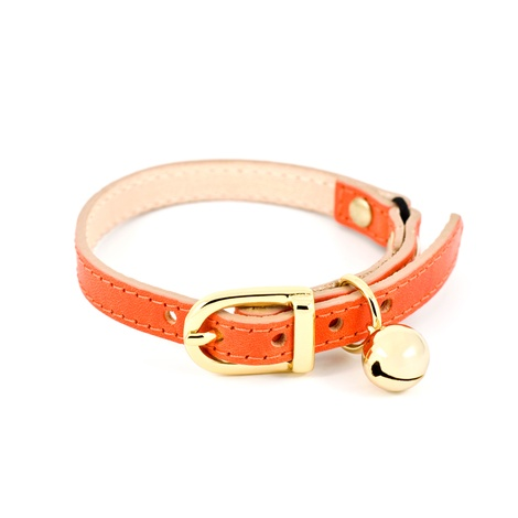 Orange Leather Cat Collar 2