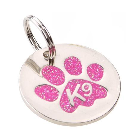 K9 Glitter Pink Paw Dog ID Tag