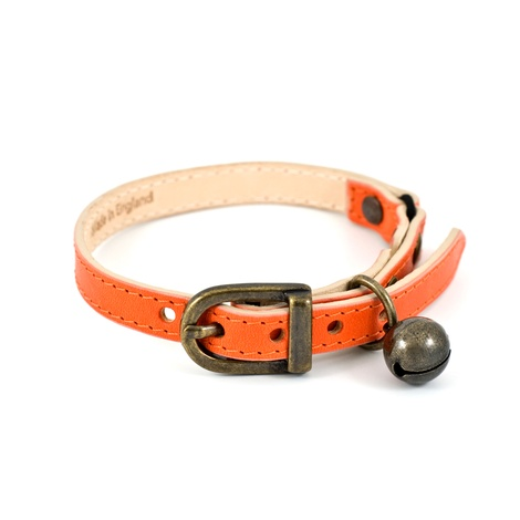 Orange Leather Cat Collar 3