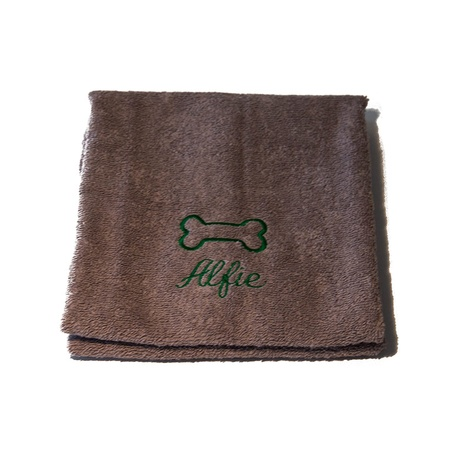 Personalised Brown Bone Dog Towel - Italic font