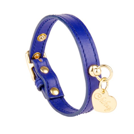 Sea Blue and Gold Leather Collar