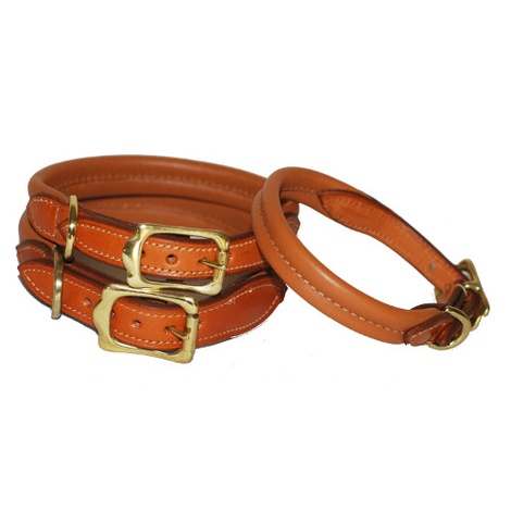 Strong & Soft Padded Leather Dog Collar - London Tan
