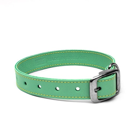 Pale Green Leather Dog Collar