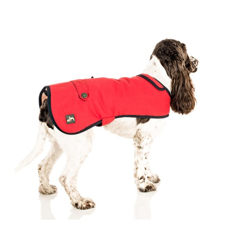 Red Waxed Cotton Dog Coat 3