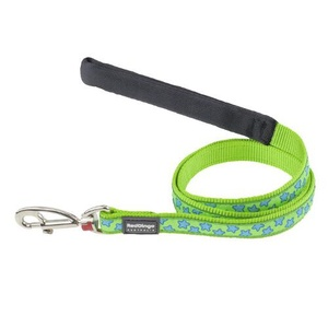 Red Dingo Patterned Dog Lead - Lime Green/Turquoise St