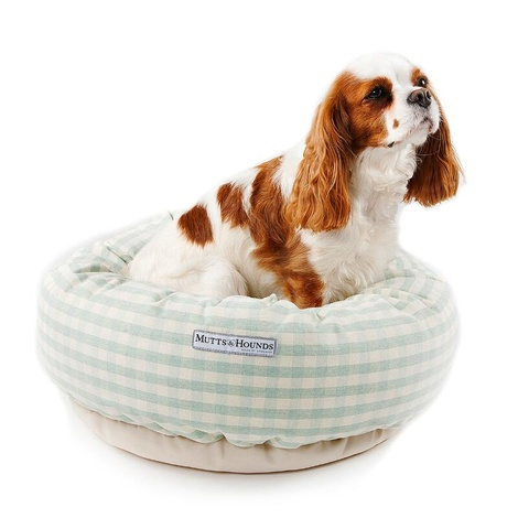 Mint Check Cotton Donut Bed 5
