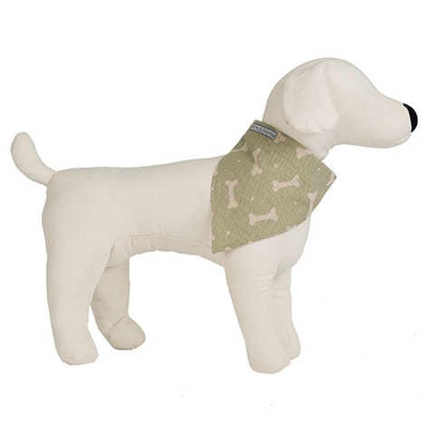 Sage Bone Linen Dog Neckerchief