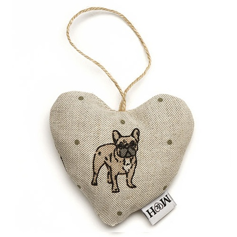 Dogs Linen Lavender Heart Natural - French Bulldog