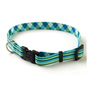 Yellow Dog - Blue/Green Striped Argyle Collar