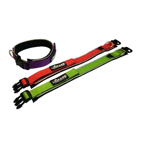 Liopard Padded Nylon Dog Collar – Red 3