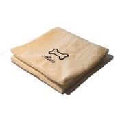PetsPyjamas - Personalised Cream Bone Dog Towel - Italic font