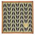 Boston Terrier Print Silk Scarf - Mint & Coral 2