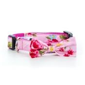 "Pet Pooch Boutique - Pink Vintage Primrose Bow Collar 1"" Width"