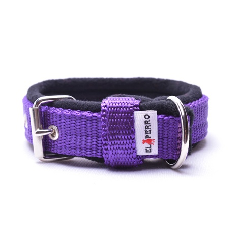 2.5cm width Fleece Comfort Dog Collar – Purple