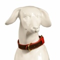 Pimlico Leather Dog Collar – Chocolate & Red 2