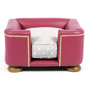 The Tetford Square Magenta Leather Dog Bed