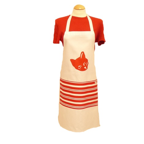 Cat Plain Apron With Pocket