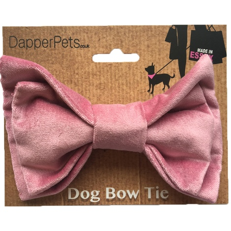 Pink Velvet Dog Bow Tie 3