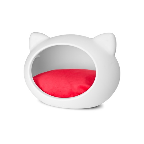 White Cat Cave with Red Cushion 2