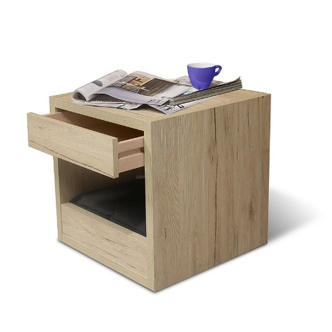Bloq Pet Bed & Side Table - San Remo Oak 4