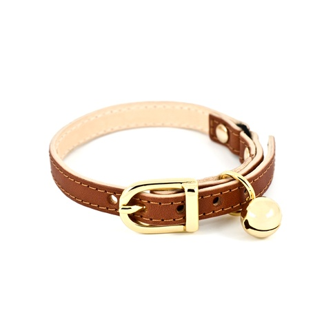 Tan Leather Cat Collar 2