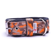 El Perro - 4cm width Fleece Comfort Dog Collar - Orange Camo