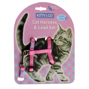 Hem & Boo - Pink Snag Free Cat Harness & Lead Set