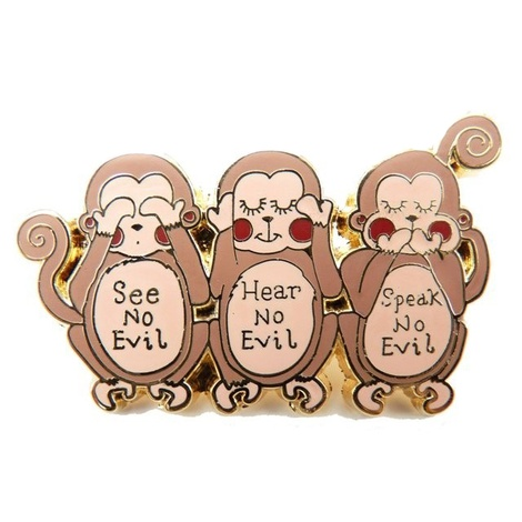 Enamel Wise Monkeys Brooch