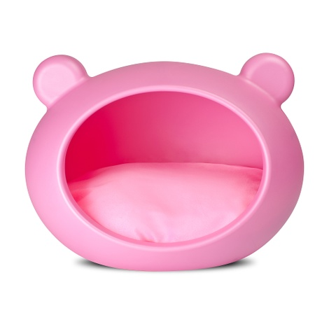 Small Pink Dog Cave with Pink Cushion 2