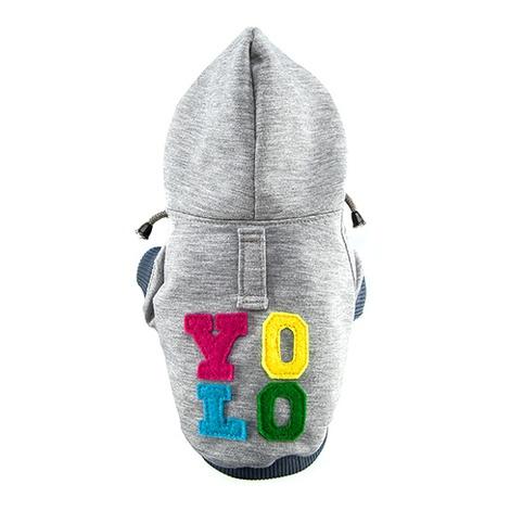 Grey YOLO Dog Hoodie
