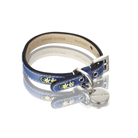 Edelweiss Leather Dog Collar – Swiss Blue