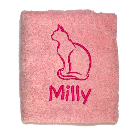 Personalised Cat Towel –  Pale Pink