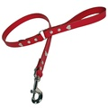 Red Silver Hearts Classic Leather Dog Lead