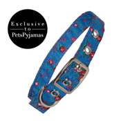 Creature Clothes - Blue Rose Print Fabric Dog Collar
